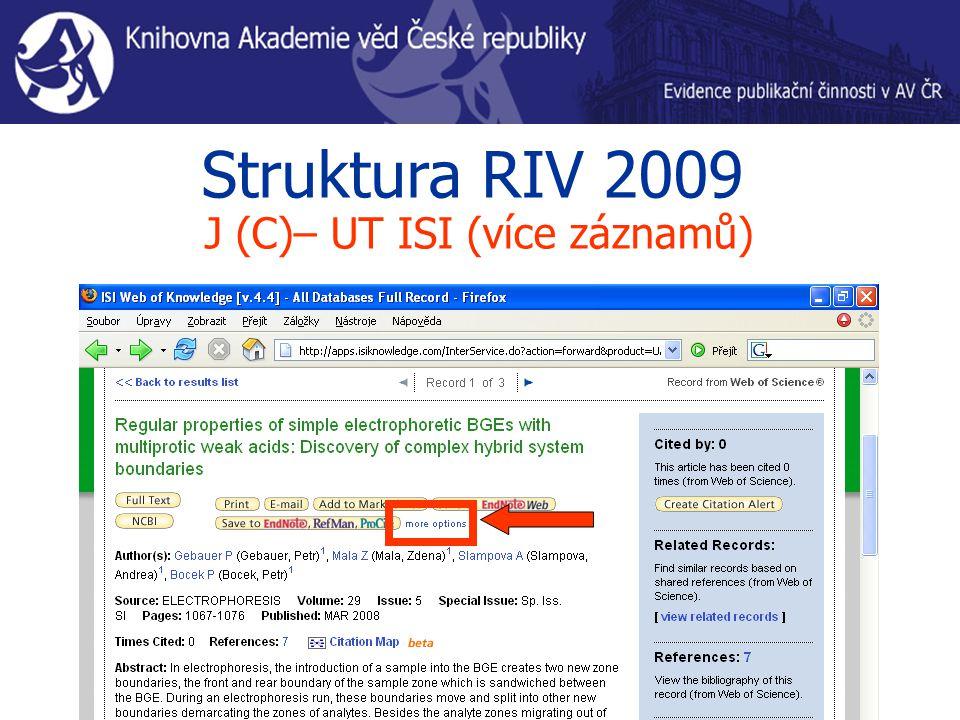 Struktura RIV 2009 J (C)– UT ISI (více záznamů)