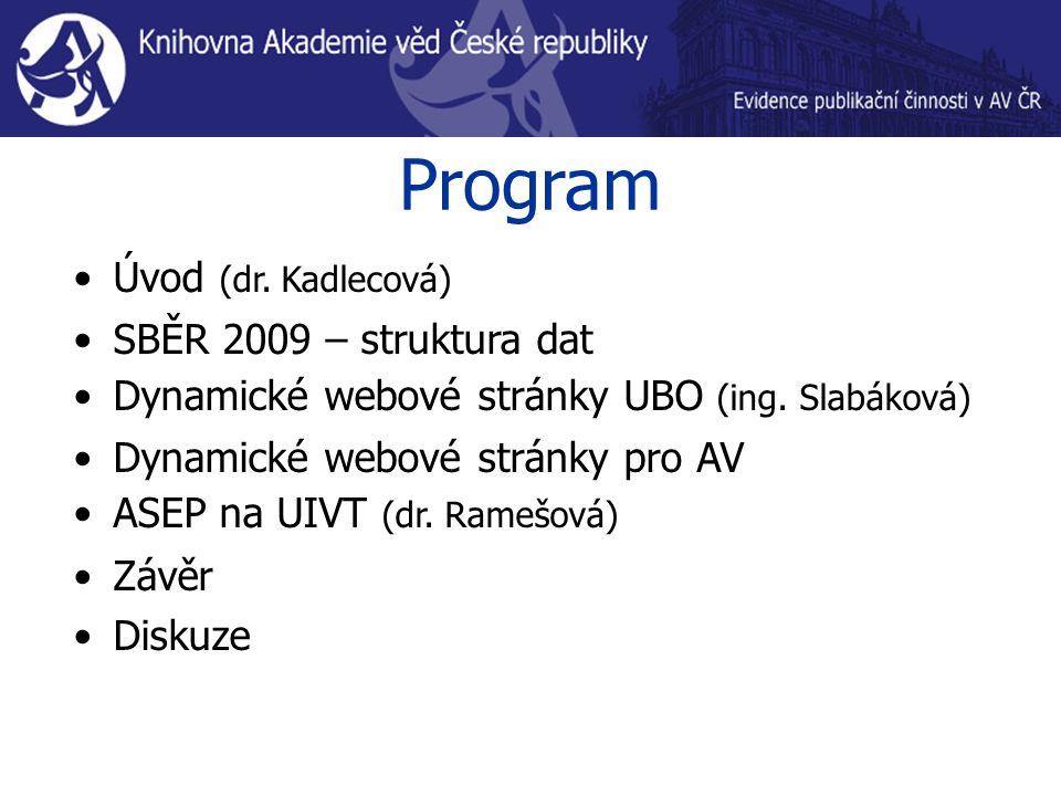 Program Úvod (dr. Kadlecová) SBĚR 2009 – struktura dat Dynamické webové stránky UBO (ing. Slabáková) Dynamické webové stránky pro AV ASEP na UIVT (d