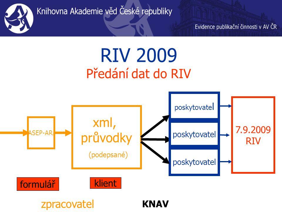 RIV 2009 Předání dat do RIV ASEP-AR L xml, průvodky (podepsané) poskytovate l zpracovatel poskytovatel 7.9.2009 RIV KNAV formulář klient