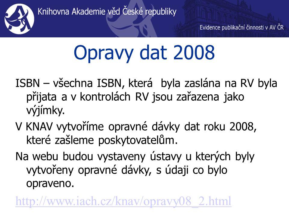 Opravy dat 2008 ISBN – všechna ISBN, která byla zaslána na RV byla přijata a v kontrolách RV jsou zařazena jako výjímky. V KNAV vytvoříme opravné dávk