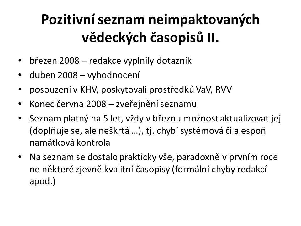 Pozitivní seznam neimpaktovaných vědeckých časopisů II. březen 2008 – redakce vyplnily dotazník duben 2008 – vyhodnocení posouzení v KHV, poskytovali