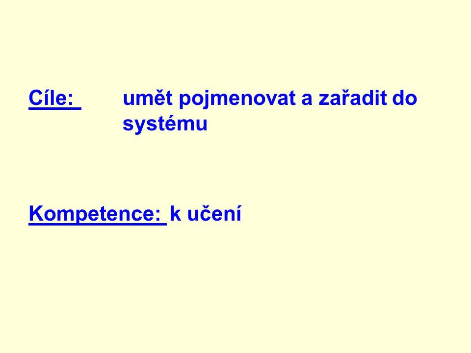 Cíle: umět pojmenovat a zařadit do systému Kompetence: k učení