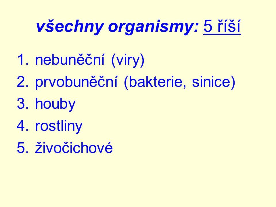 všechny organismy: 5 říší 1.nebuněční (viry) 2.prvobuněční (bakterie, sinice) 3.houby 4.rostliny 5.živočichové Obr.2 Obr.3 Obr.4