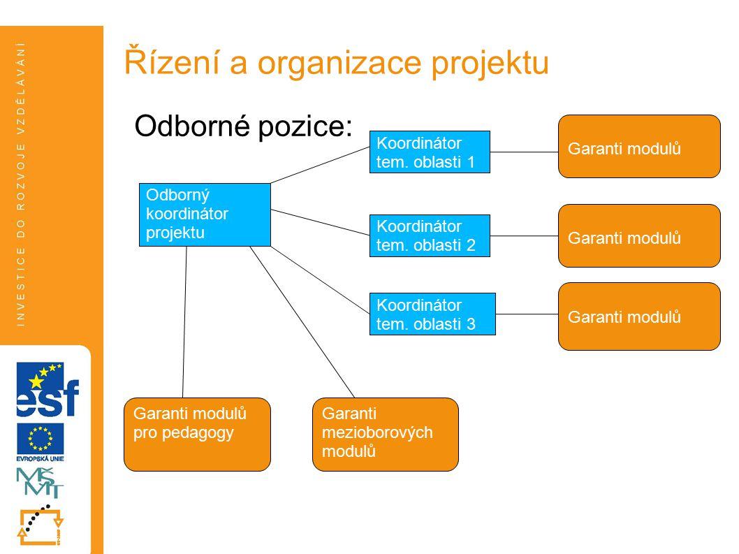 Odborné pozice: Řízení a organizace projektu Odborný koordinátor projektu Koordinátor tem.
