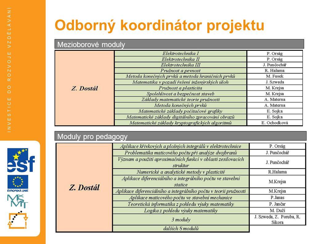 Odborný koordinátor projektu Mezioborové moduly Moduly pro pedagogy