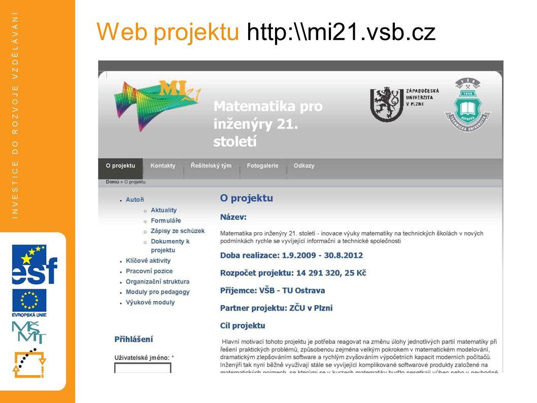 Web projektu http:\\mi21.vsb.cz