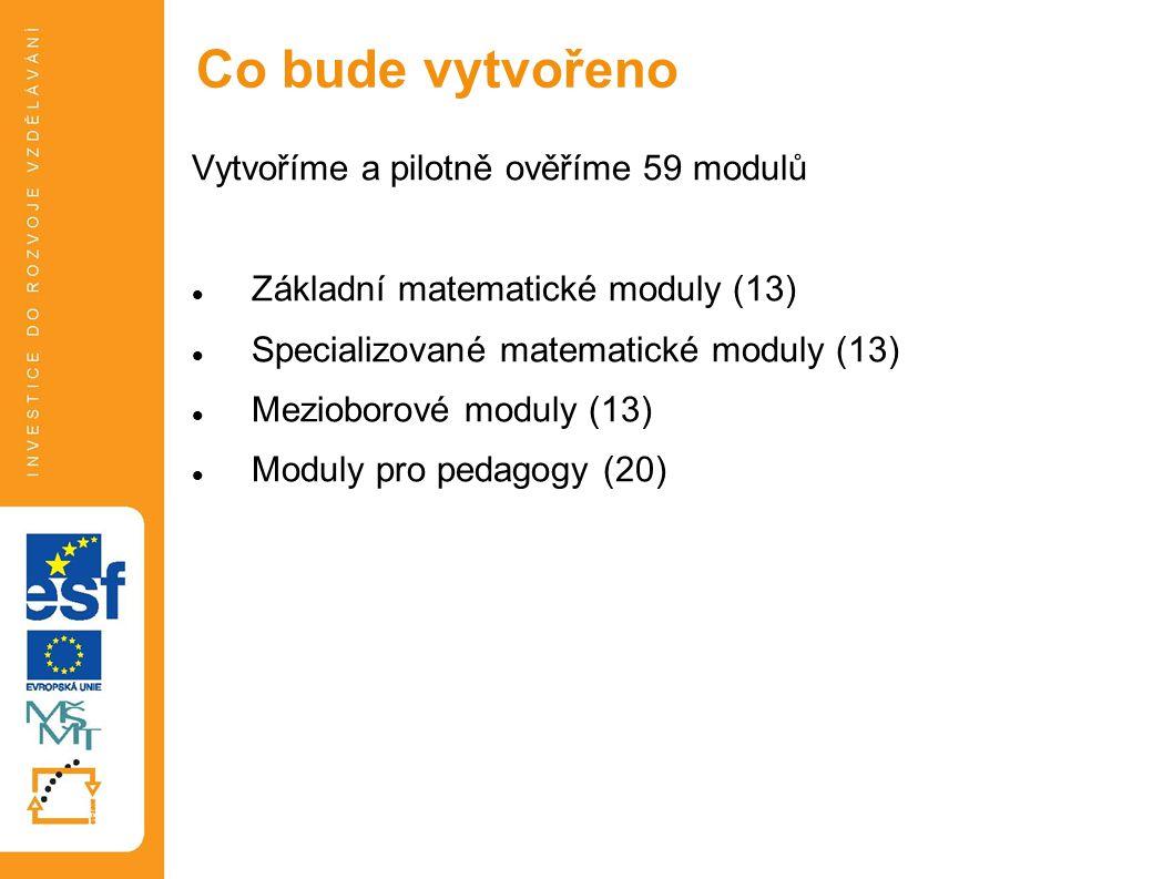 Vytvoříme a pilotně ověříme 59 modulů Základní matematické moduly (13) Specializované matematické moduly (13) Mezioborové moduly (13) Moduly pro pedagogy (20) Co bude vytvořeno