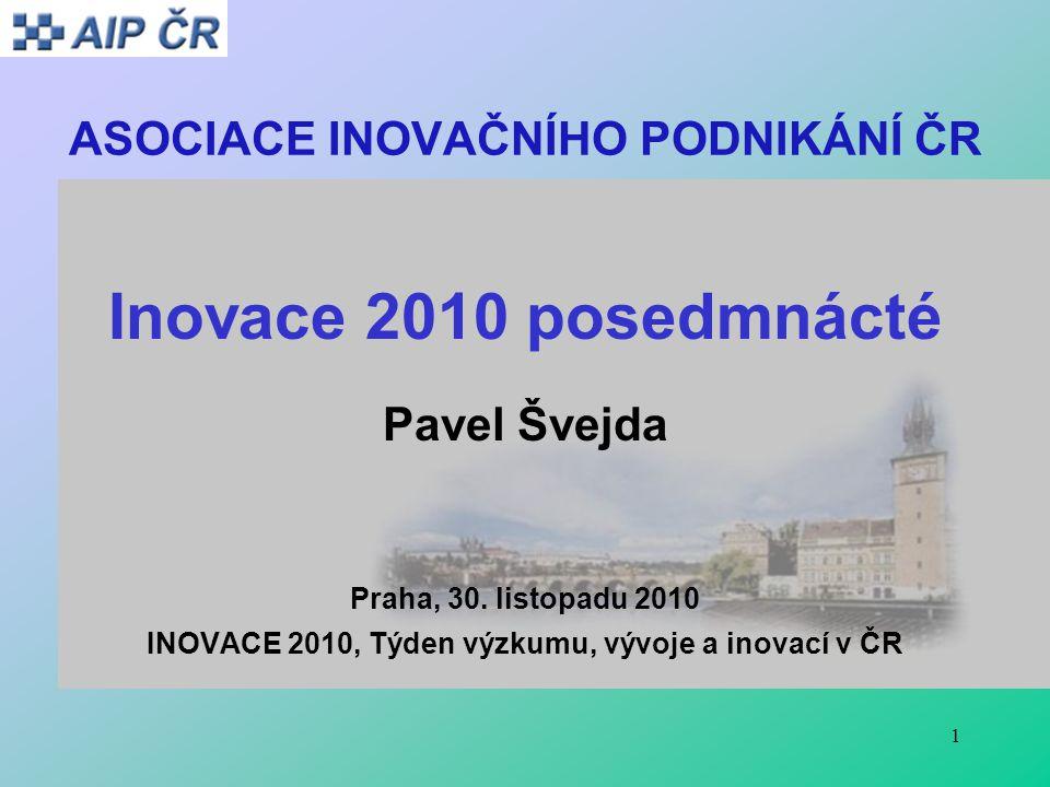 1 ASOCIACE INOVAČNÍHO PODNIKÁNÍ ČR Inovace 2010 posedmnácté Pavel Švejda Praha, 30. listopadu 2010 INOVACE 2010, Týden výzkumu, vývoje a inovací v ČR