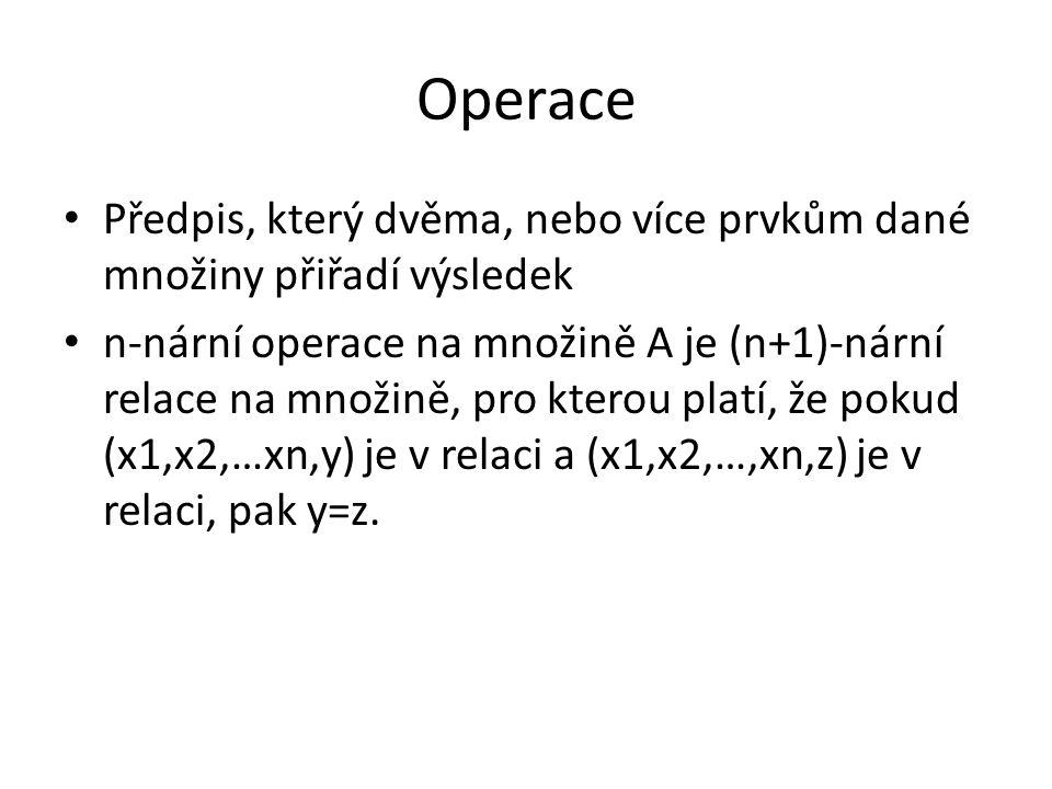 Četnost (arita) operací Nulární (konstanta) Unární (funkce) Binární (klasické operace) Ternální a vyšších řádů