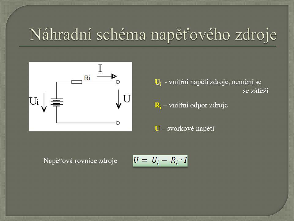 U i U i - vnitřní napětí zdroje, nemění se se zátěží R i R i – vnitřní odpor zdroje U U – svorkové napětí Napěťová rovnice zdroje