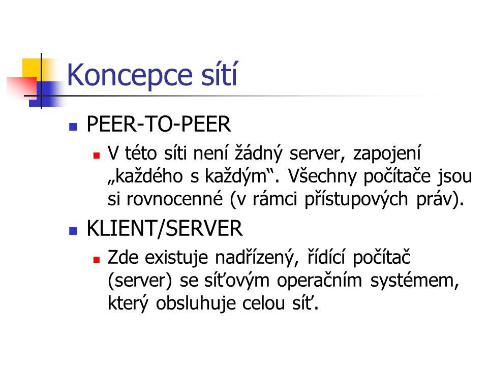 """Koncepce sítí PEER-TO-PEER V této síti není žádný server, zapojení """"každého s každým"""". Všechny počítače jsou si rovnocenné (v rámci přístupových práv)"""