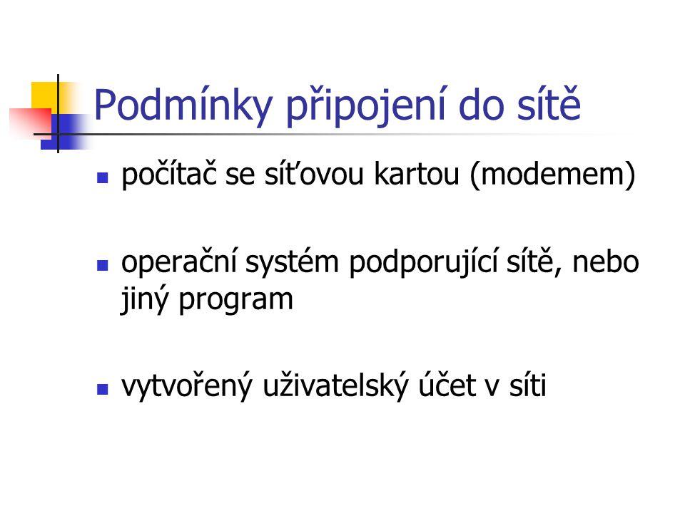Podmínky připojení do sítě počítač se síťovou kartou (modemem) operační systém podporující sítě, nebo jiný program vytvořený uživatelský účet v síti