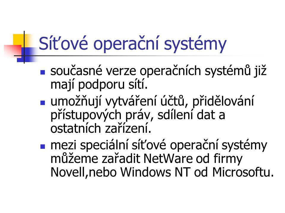 Síťové operační systémy současné verze operačních systémů již mají podporu sítí. umožňují vytváření účtů, přidělování přístupových práv, sdílení dat a