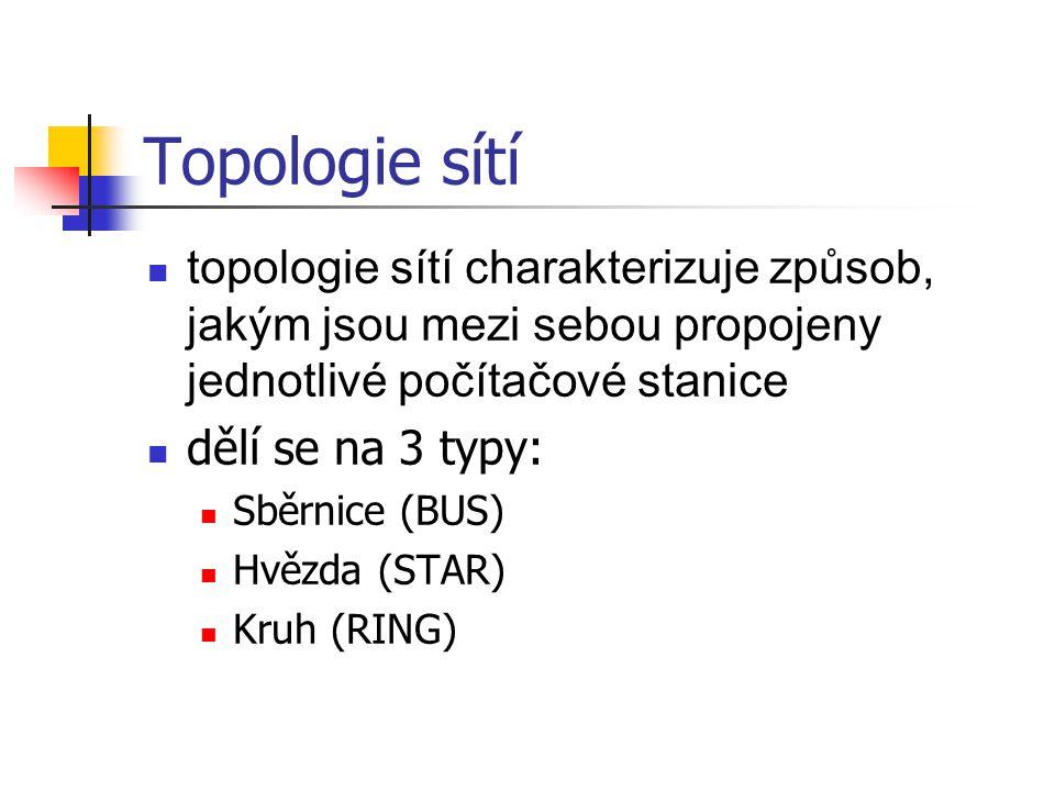 Topologie sítí topologie sítí charakterizuje způsob, jakým jsou mezi sebou propojeny jednotlivé počítačové stanice dělí se na 3 typy: Sběrnice (BUS) H