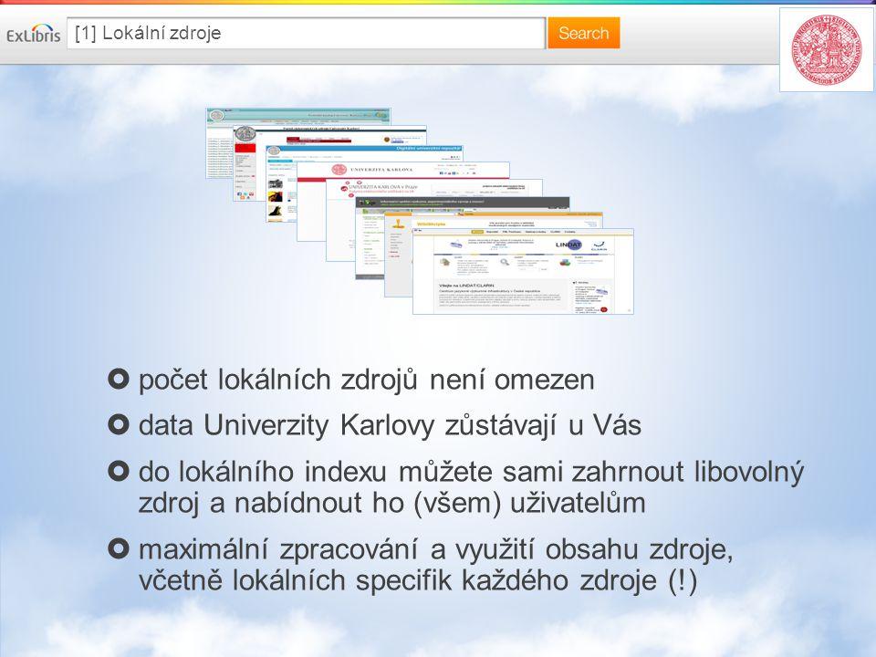[1] Lokální zdroje  počet lokálních zdrojů není omezen  data Univerzity Karlovy zůstávají u Vás  do lokálního indexu můžete sami zahrnout libovolný zdroj a nabídnout ho (všem) uživatelům  maximální zpracování a využití obsahu zdroje, včetně lokálních specifik každého zdroje (!)