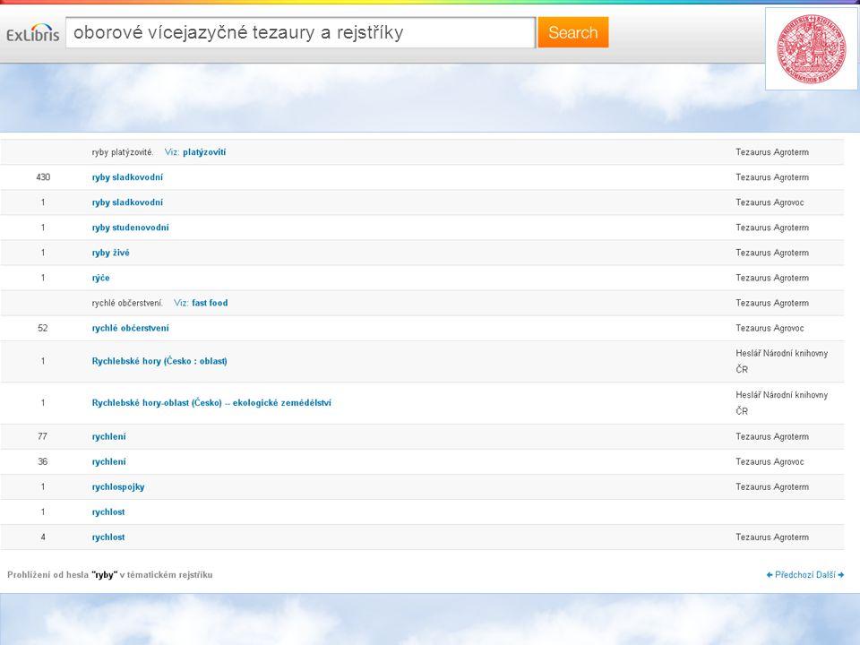 oborové vícejazyčné tezaury a rejstříky