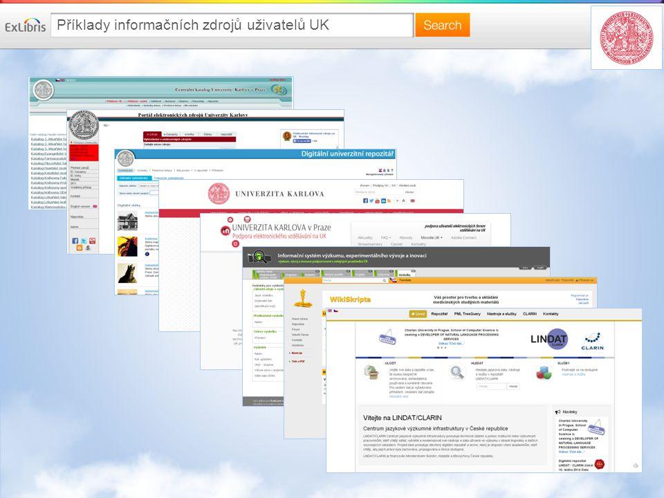 Příklady informačních zdrojů uživatelů UK