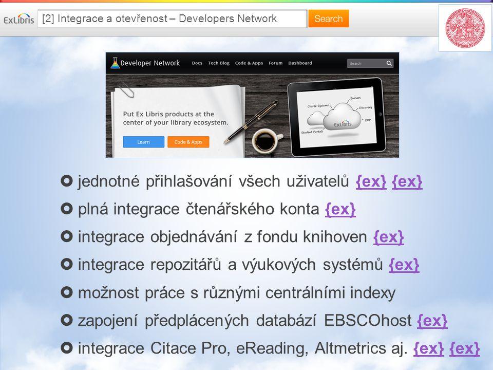 [2] Integrace a otevřenost – Developers Network  jednotné přihlašování všech uživatelů {ex} {ex}{ex}  plná integrace čtenářského konta {ex}{ex}  integrace objednávání z fondu knihoven {ex}{ex}  integrace repozitářů a výukových systémů {ex}{ex}  možnost práce s různými centrálními indexy  zapojení předplácených databází EBSCOhost {ex}{ex}  integrace Citace Pro, eReading, Altmetrics aj.