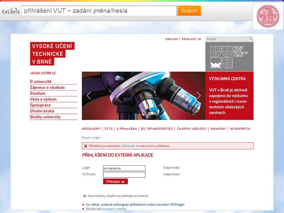 přihlášení VUT – zadání jména/hesla