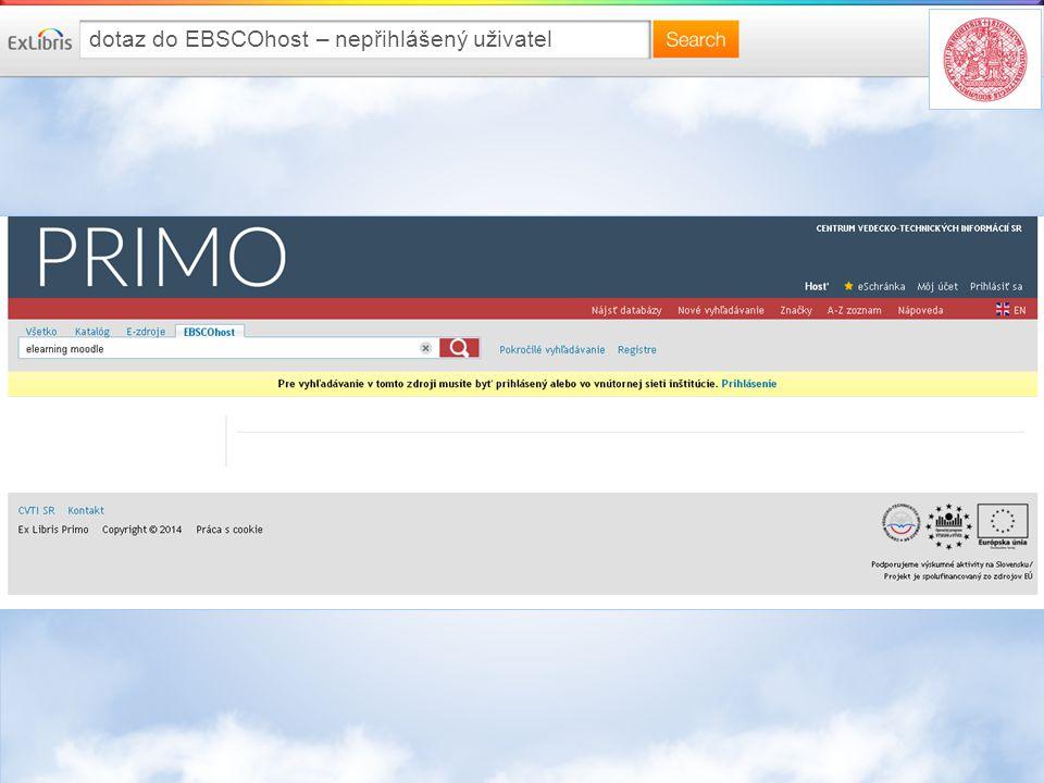 dotaz do EBSCOhost – nepřihlášený uživatel