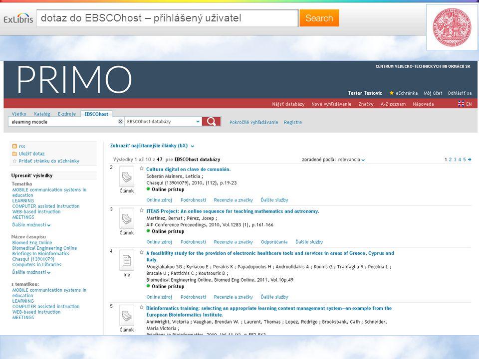 dotaz do EBSCOhost – přihlášený uživatel