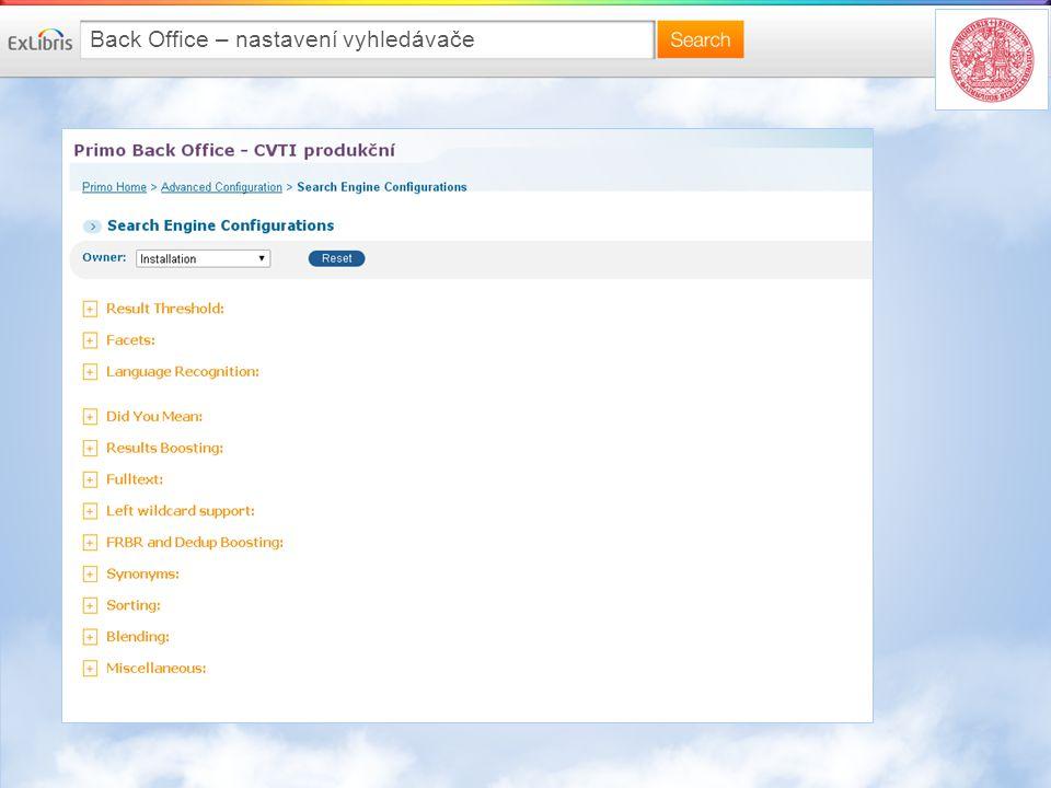 Back Office – nastavení vyhledávače
