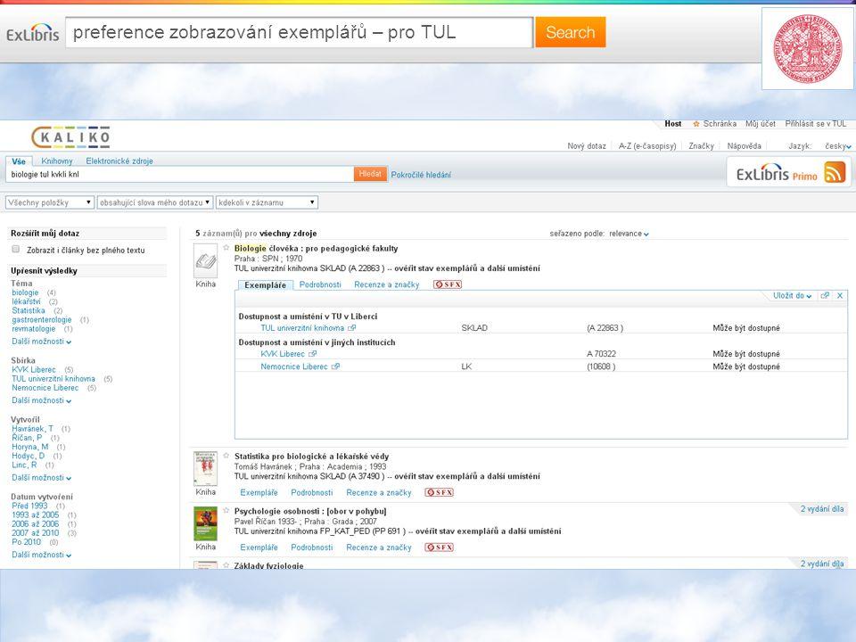preference zobrazování exemplářů – pro TUL