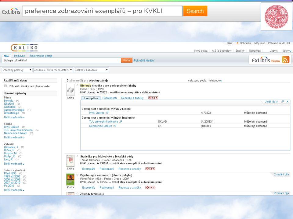 preference zobrazování exemplářů – pro KVKLI