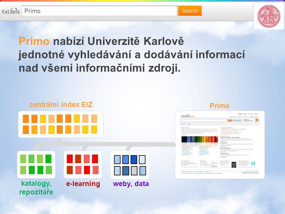 Primo nabízí Univerzitě Karlově jednotné vyhledávání a dodávání informací nad všemi informačními zdroji.