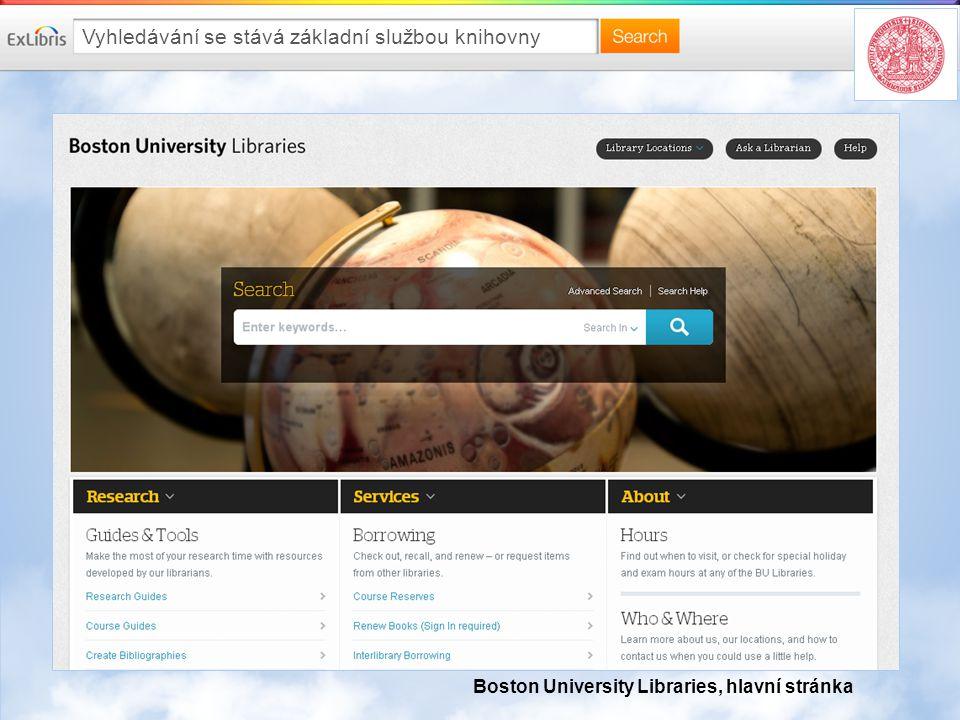 Vyhledávání se stává základní službou knihovny Boston University Libraries, hlavní stránka
