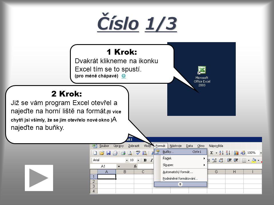 Číslo1/3 Číslo 1/3 1 Krok: Dvakrát klikneme na ikonku Excel tím se to spustí.