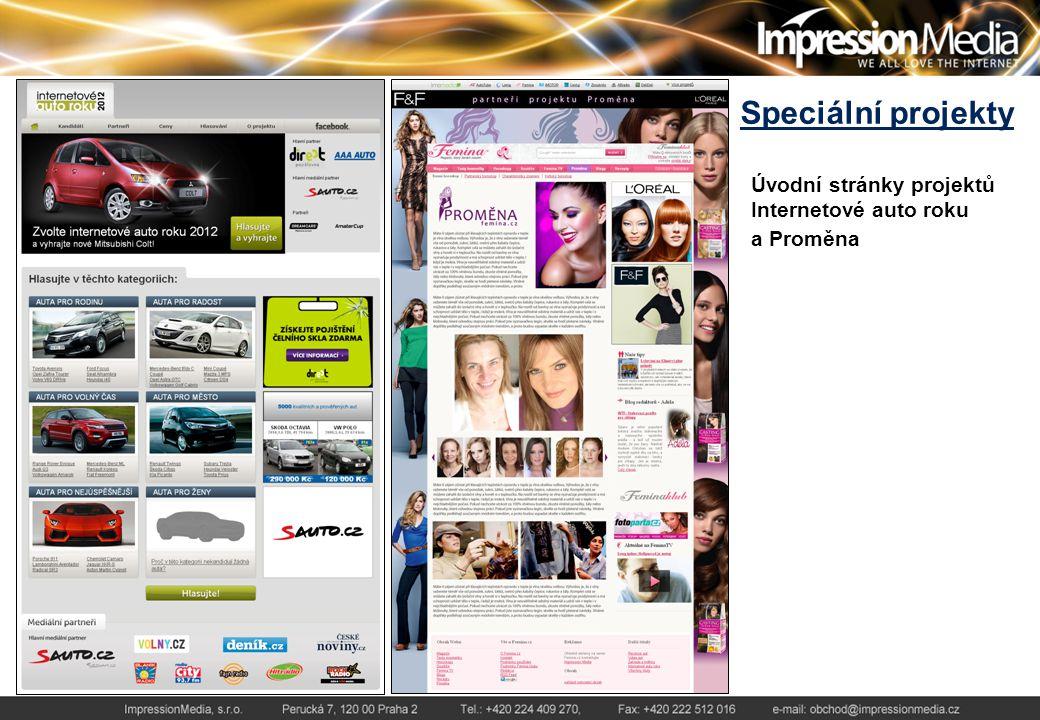 Speciální projekty Úvodní stránky projektů Internetové auto roku a Proměna