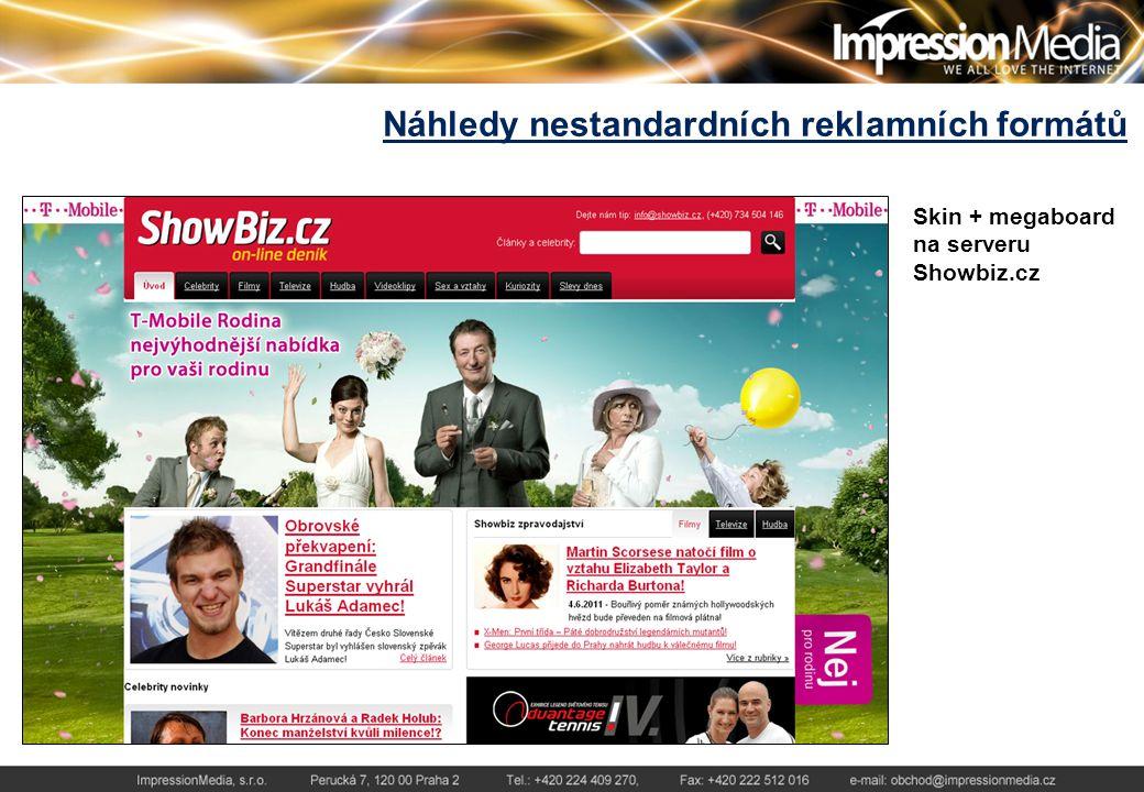 Náhledy nestandardních reklamních formátů Skin + megaboard na serveru Showbiz.cz