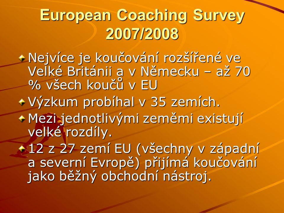 European Coaching Survey 2007/2008 Nejvíce je koučování rozšířené ve Velké Británii a v Německu – až 70 % všech koučů v EU Výzkum probíhal v 35 zemích.