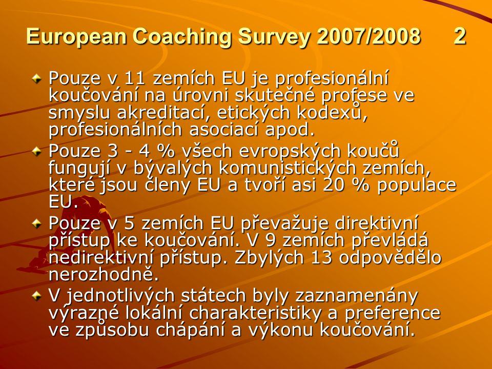 European Coaching Survey 2007/2008 2 Pouze v 11 zemích EU je profesionální koučování na úrovni skutečné profese ve smyslu akreditací, etických kodexů, profesionálních asociací apod.