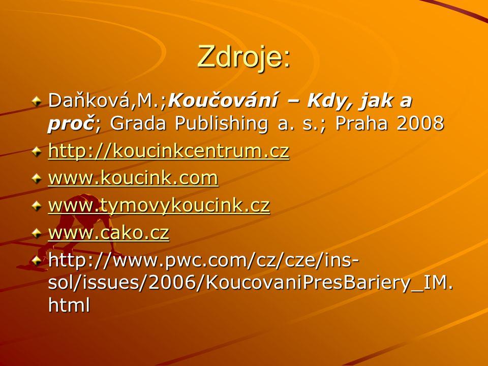 Zdroje: Daňková,M.;Koučování – Kdy, jak a proč; Grada Publishing a.