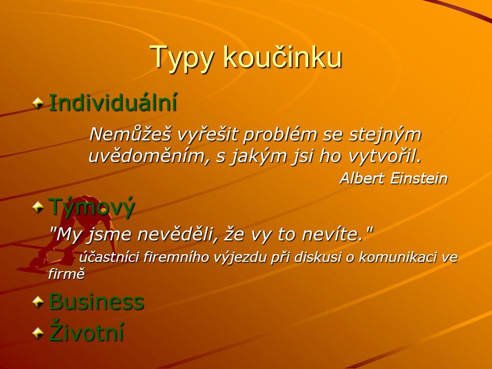 Typy koučinku Individuální Nemůžeš vyřešit problém se stejným uvědoměním, s jakým jsi ho vytvořil.