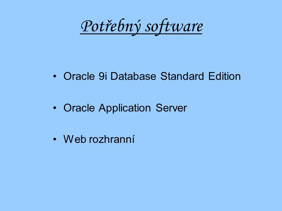 Kolik to bude stát Hardware: ProLiant ML330T02 od HP65 000,- SunFire V12802 400 000,- Sun Fire V8801 800 000,- Software: Oracle 9i Database Standard Edition450 000,- Oracle Application Server600 000,- Web rozhranní50 000,- Vývoj2 062 500,- Celkem7 277 000,-