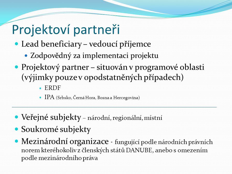 Projektoví partneři Lead beneficiary – vedoucí příjemce Zodpovědný za implementaci projektu Projektový partner – situován v programové oblasti (výjimk