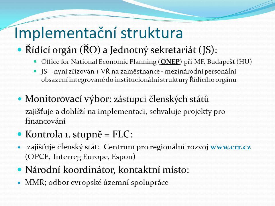 Implementační struktura Řídící orgán (ŘO) a Jednotný sekretariát (JS): Office for National Economic Planning (ONEP) při MF, Budapešť (HU) JS – nyní zř