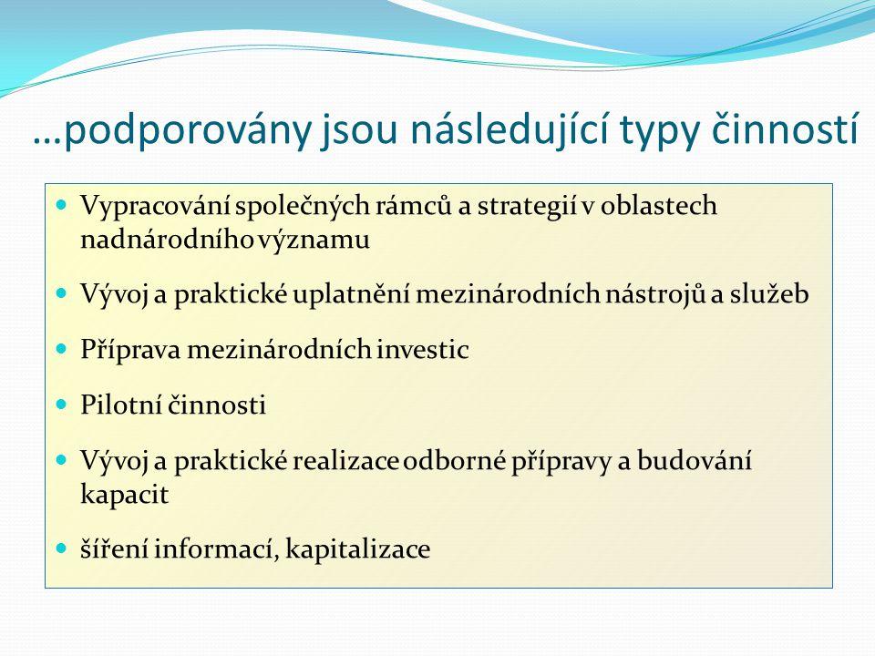 …podporovány jsou následující typy činností Vypracování společných rámců a strategií v oblastech nadnárodního významu Vývoj a praktické uplatnění mezi