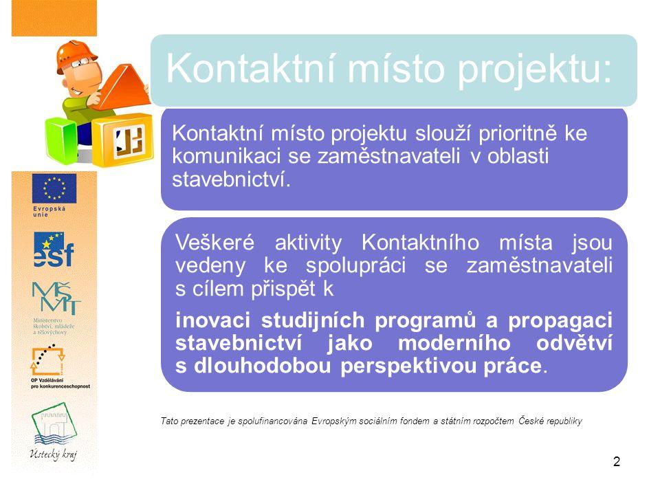 2 Kontaktní místo projektu slouží prioritně ke komunikaci se zaměstnavateli v oblasti stavebnictví.
