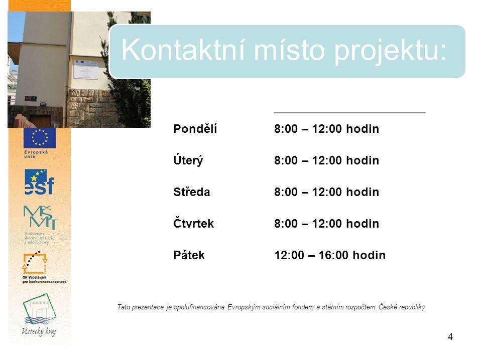 4 Kontaktní místo projektu: Tato prezentace je spolufinancována Evropským sociálním fondem a státním rozpočtem České republiky Pondělí8:00 – 12:00 hodin Úterý8:00 – 12:00 hodin Středa8:00 – 12:00 hodin Čtvrtek8:00 – 12:00 hodin Pátek12:00 – 16:00 hodin