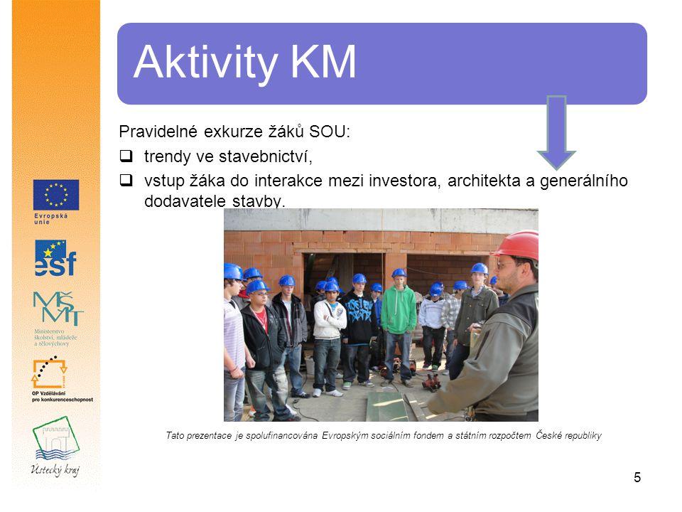 5 Aktivity KM Pravidelné exkurze žáků SOU:  trendy ve stavebnictví,  vstup žáka do interakce mezi investora, architekta a generálního dodavatele stavby.