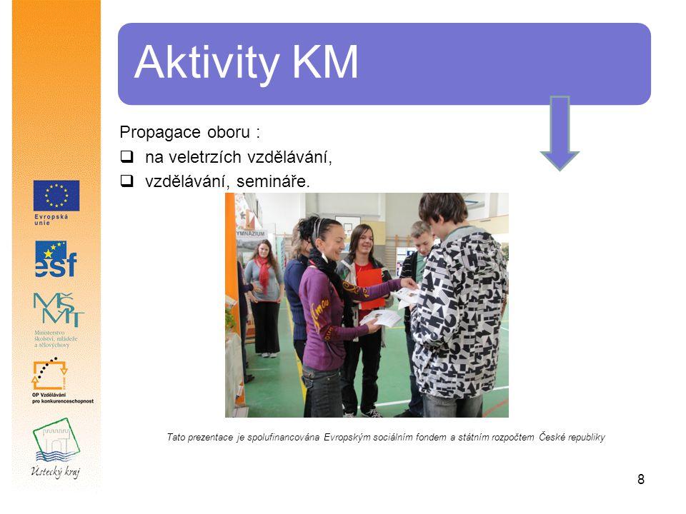 8 Aktivity KM Propagace oboru :  na veletrzích vzdělávání,  vzdělávání, semináře.