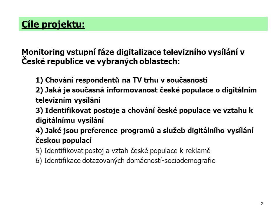2 Cíle projektu: Monitoring vstupní fáze digitalizace televizního vysílání v České republice ve vybraných oblastech: 1) Chování respondentů na TV trhu v současnosti 2) Jaká je současná informovanost české populace o digitálním televizním vysílání 3) Identifikovat postoje a chování české populace ve vztahu k digitálnímu vysílání 4) Jaké jsou preference programů a služeb digitálního vysílání českou populací 5) Identifikovat postoj a vztah české populace k reklamě 6) Identifikace dotazovaných domácností-sociodemografie