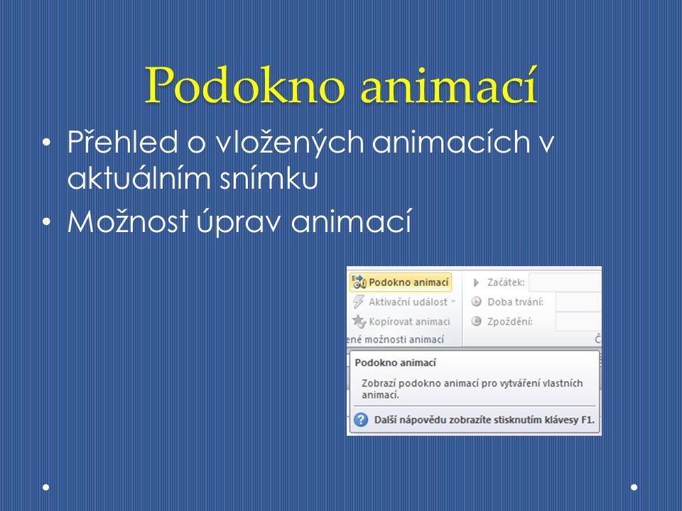 Podokno animací Přehled o vložených animacích v aktuálním snímku Možnost úprav animací