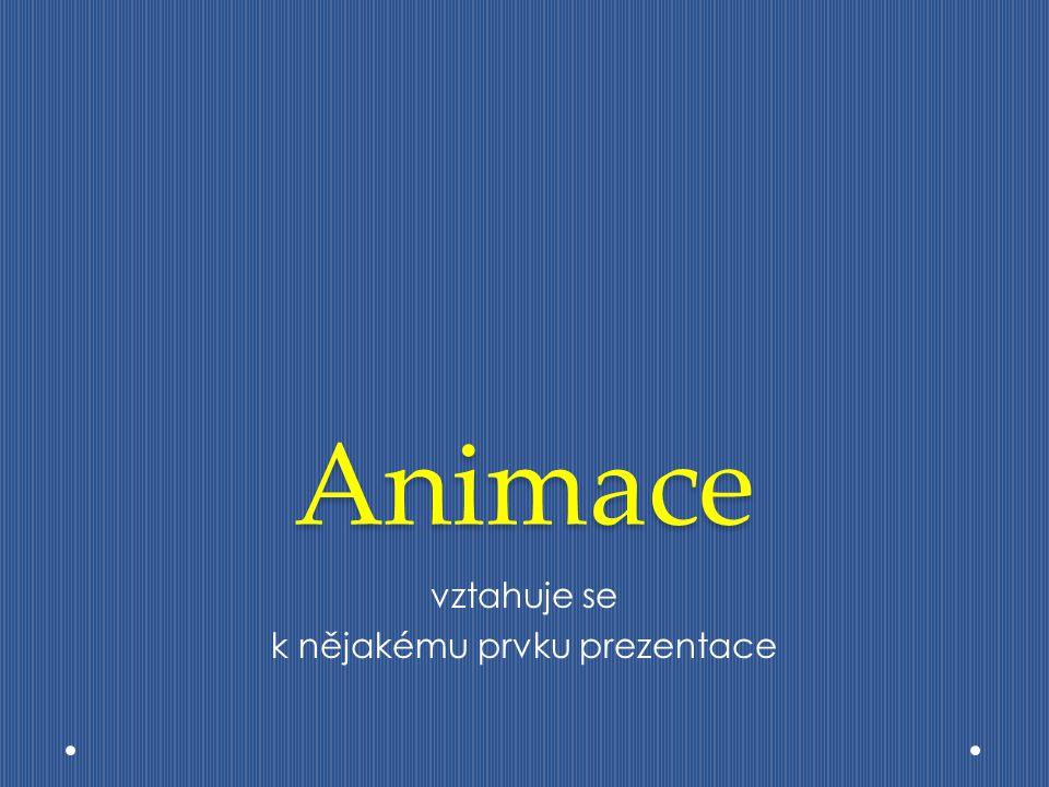 Animace vztahuje se k nějakému prvku prezentace