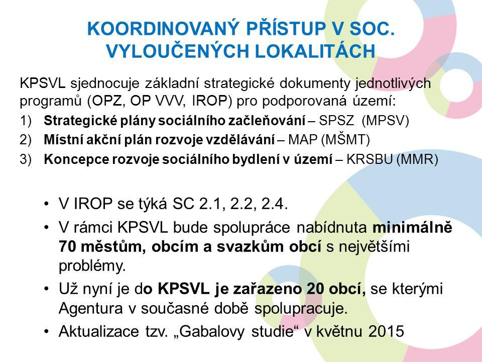 KPSVL sjednocuje základní strategické dokumenty jednotlivých programů (OPZ, OP VVV, IROP) pro podporovaná území: 1)Strategické plány sociálního začleňování – SPSZ (MPSV) 2)Místní akční plán rozvoje vzdělávání – MAP (MŠMT) 3)Koncepce rozvoje sociálního bydlení v území – KRSBU (MMR) V IROP se týká SC 2.1, 2.2, 2.4.