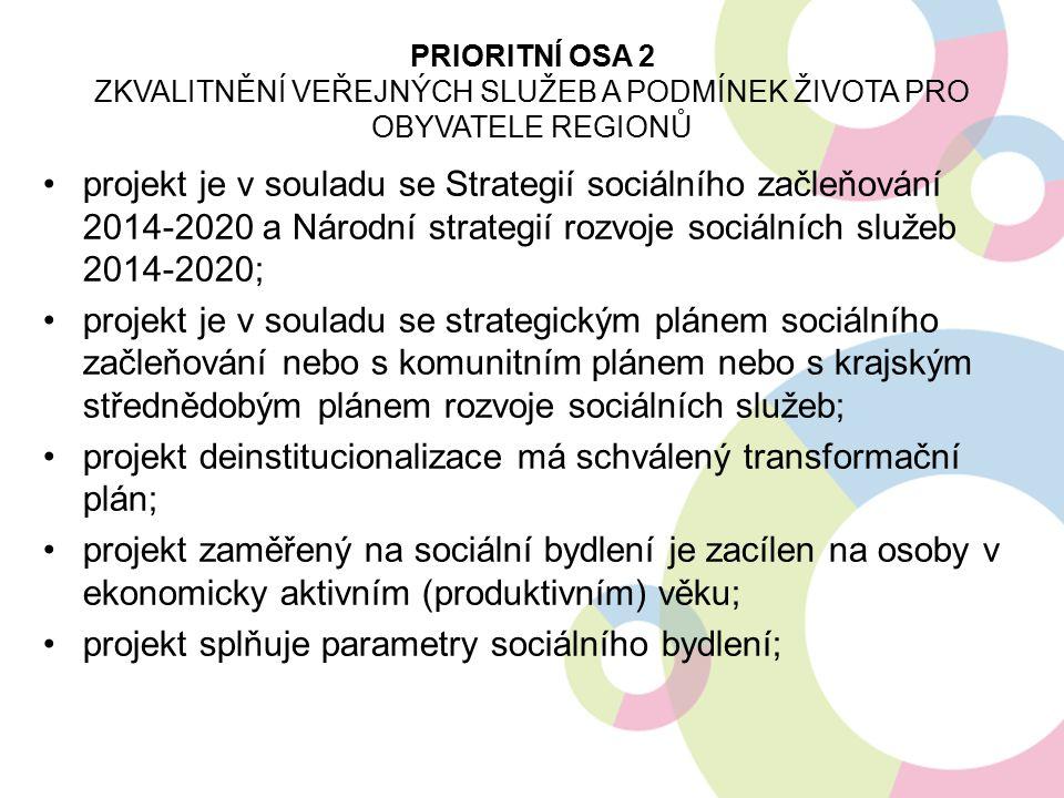 projekt je v souladu se Strategií sociálního začleňování 2014-2020 a Národní strategií rozvoje sociálních služeb 2014-2020; projekt je v souladu se strategickým plánem sociálního začleňování nebo s komunitním plánem nebo s krajským střednědobým plánem rozvoje sociálních služeb; projekt deinstitucionalizace má schválený transformační plán; projekt zaměřený na sociální bydlení je zacílen na osoby v ekonomicky aktivním (produktivním) věku; projekt splňuje parametry sociálního bydlení; PRIORITNÍ OSA 2 ZKVALITNĚNÍ VEŘEJNÝCH SLUŽEB A PODMÍNEK ŽIVOTA PRO OBYVATELE REGIONŮ